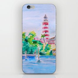 Elbow Reef Lighthouse Hope Town, Abaco, Bahamas Watercolor painting iPhone Skin