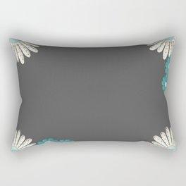 Gray,blue flowers Rectangular Pillow