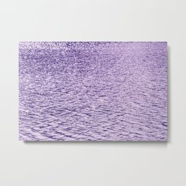 Ultra Violet Glittering Wavy Pattern   Trendy Color of year 2018 Metal Print