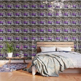 Rock Retaining Wall With Beautiful Trees and Purple Flowers Wallpaper