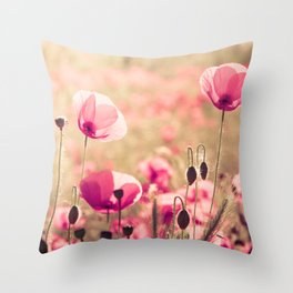 Heaven - poppy flowers photography Throw Pillow