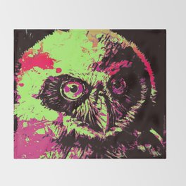 Rainbow Spectacled Owl Throw Blanket