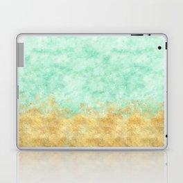 Pretty Mint Gold Glam Watercolor Laptop & iPad Skin