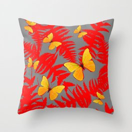 Red Fern Fronds With Yellow Butterflies & Grey Color Throw Pillow