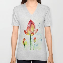 LOTUS FLOWER WITH BUDS Watercolor Unisex V-Neck