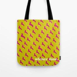 Wiener Time Dachshund Print Tote Bag