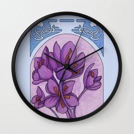 Art nouveau. Saffron. Wall Clock