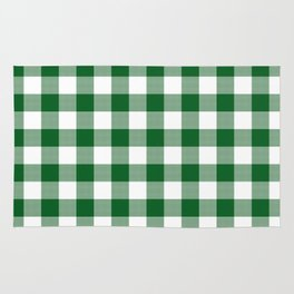 Hunter Green Checker Gingham Plaid Rug