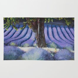 Lavender Field with Apple Tree Rug