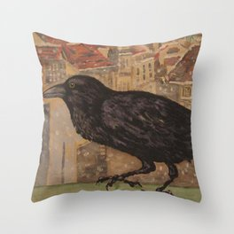 Crow and Snow Throw Pillow
