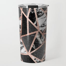 Modern Rose Gold Glitter Marble Geometric Triangle Travel Mug