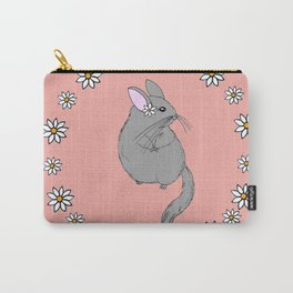 Daisy Chinchilla Flower Crown Border Carry-All Pouch