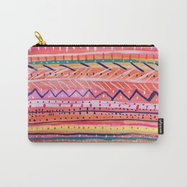 Hand painted Bright Patterned Stripes Carry-All Pouch