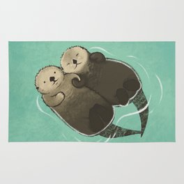 Significant Otters - Otters Holding Hands Rug