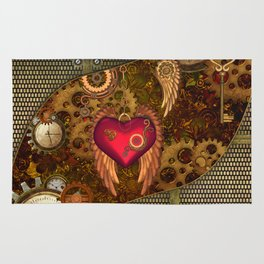 Steampunk, heart with wings Rug