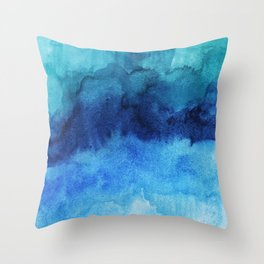 Blue Life Watercolor Throw Pillow