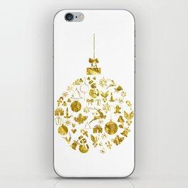 Golden Shimmering Christmas Ornament Bauble iPhone Skin