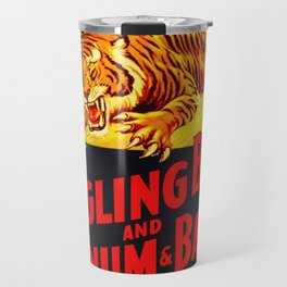 Vintage Circus Poster - Tiger & Lion Travel Mug