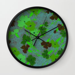Fashion Textail Floral Print Design, Flower Bouquet Allover Pattern Wall Clock