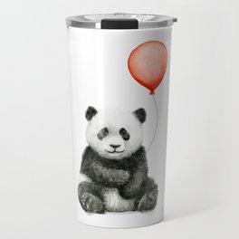 Panda and Red Balloon Baby Animals Watercolor Travel Mug