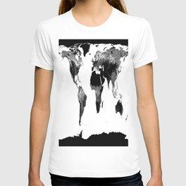 World Map  Black & White T-shirt