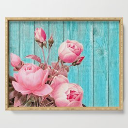 Pink Roses On Turquoise Blue Wood Serving Tray