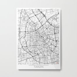 Tianjin Map White Metal Print
