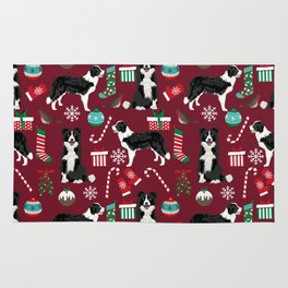 Border Collie christmas stockings presents holiday candy canes dog breed pattern Rug