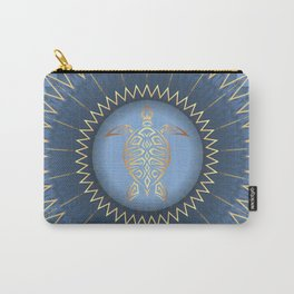 Dark Blue Gold Turtle And Mandala Carry-All Pouch