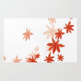 Falling red maple leaves watercolor painting Rug