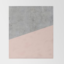 Concrete and Pale Dogwood Color Throw Blanket