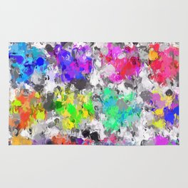 colorful psychedelic splash painting abstract texture in pink blue purple green yellow red orange Rug