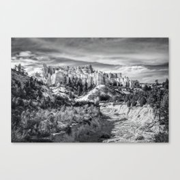 Castle in the sky in black and white - Water Canyon Canvas Print