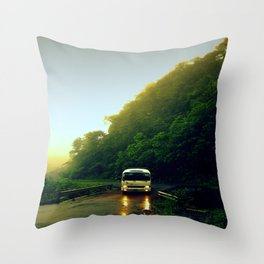 Mountain Bus Throw Pillow
