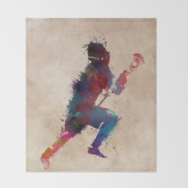 Lacrosse player art 1 Throw Blanket