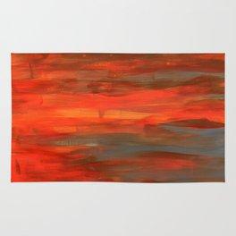 Brushed orange-red & grey Rug