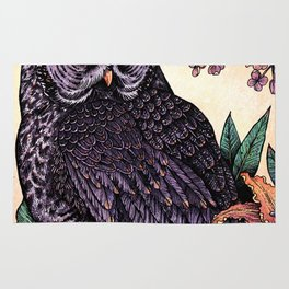 Great Grey Owl At Sunset Rug