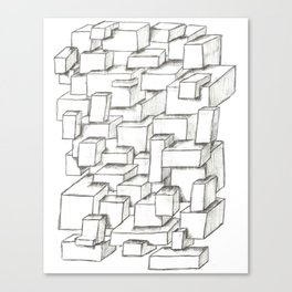 Sketched Cubes Canvas Print