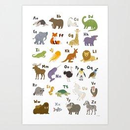 Animal Alphabet Poster Art Print