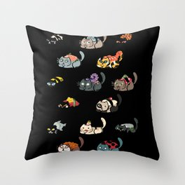 Cat Sushi Installation 2 Throw Pillow