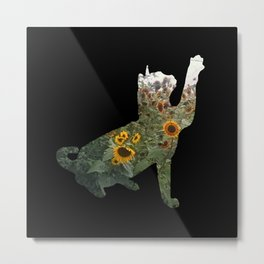 Cat Silhouetted in Sunflowers Metal Print