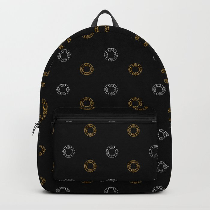 Silver and Gold Christmas Holiday Wreaths on Black Background Backpack