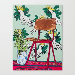 School Chair and Mint Cockatoo Wallpaper Canvas Print