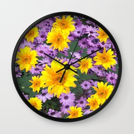 LILAC PURPLE  FLORAL ABSTRACT YELLOW FLOWERS ART Wall Clock