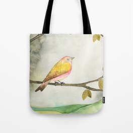 Pink Yellow Bird Tote Bag