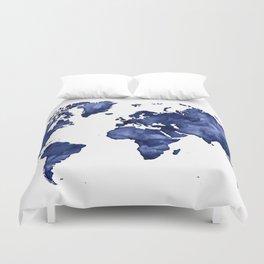 Dark navy blue watercolor world map Duvet Cover