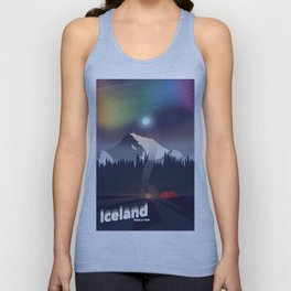 Iceland Northern lights travel poster Unisex Tank Top