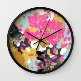 Sacha - abstract painting boho color palette bright happy dorm college abstract art Wall Clock