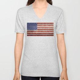 Flag of the United States of America in Retro Grunge Unisex V-Neck