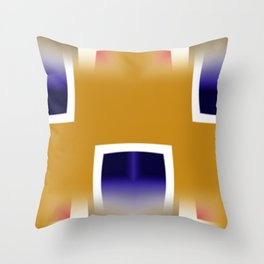 Yellow and Blue Abstract Art Throw Pillow